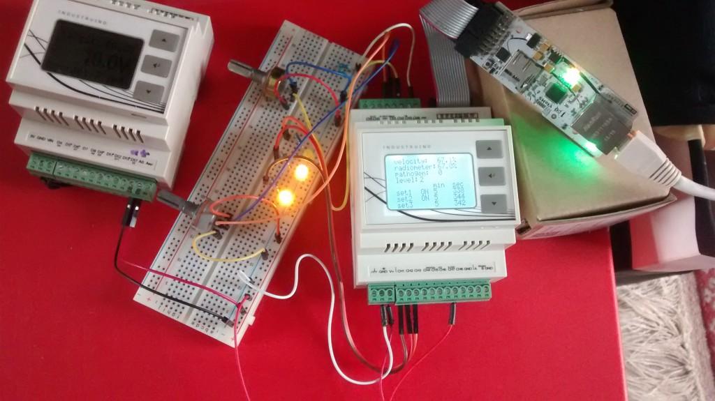 Industruino prototype for 24V digital I/O and 4-20mA analog sensors